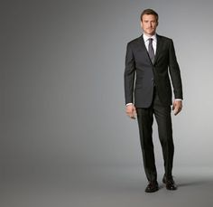 Charcoal Beaded Stripe Suit- J. Hilburn customized apparel for men