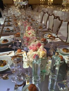 lush floral garland on mirrored banquet table