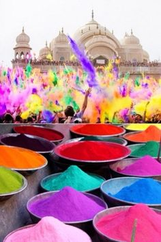 such pretty colors! Holi Festival India February/March. Hope to experience this some day. Hindus and Sikh, in India, Nepal, and Sri Lanka celebrate the main day of this incredibly fun 16-day religious festival by throwing colored powder and water at each other.