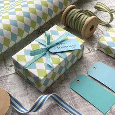 Turquoise and Blue Diamonds Gift Wrap (2 sheets) by Jane Means