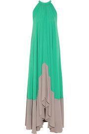 SaloniIris color-block georgette maxi dress, $385 http://www.net-a-porter.com/Shop/Clothing/Dresses?cm_sp=topnav-_-clothing-_-dresses&level3Filter=&pn=1&npp=view_all&image_view=product&dScroll=0