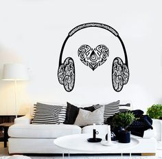 Wall Vinyl Music Hearts Headphones Head Phones by BoldArtsy 0cb043be769