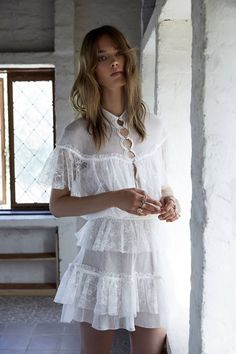 For Love & Lemons spotlights Stardust lace ruffle dress from 2017 wedding collection