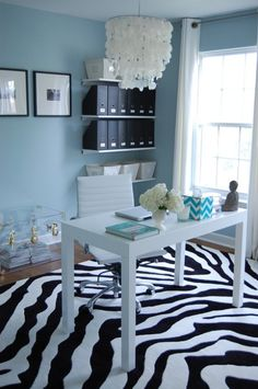 An example of mixing pastel blue with black and white...ie, our dining room.