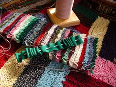 shirret rugs   Buckster's Scrap Happy Stripity Shirret Rug!   Flickr - Photo Sharing!