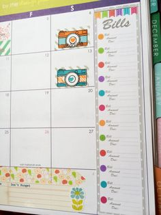 Monthly Bill and Balance Tracker stickers for Erin by Planneresque