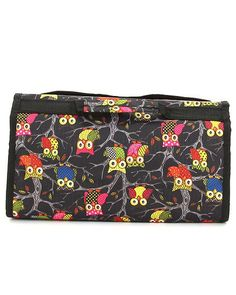 "Hang it or carry it ! Give as Gift!  Black Owl Print Roll up Cosmetic Bag, Velcro Closure  Mesh Zippered Pocket  Hanger Hook  Transparent Pockets  Zipper Closure Cosmetic Pouch  Full Size : 11.5 in(L) x 24 in(H) x 3 in(W)  Materials :	Microfiber  Length/Height/Width : 11.5"" / 7.0"" / 3.0"""