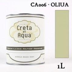 Krijtverf Creta et Aqua  1 Liter Oliua Olijf groen - Verven zonder te schuren.