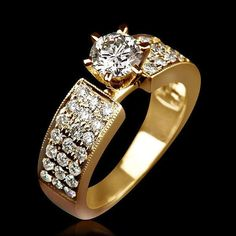 Diamond Ring 2.05 Carat F SI2 Round Cut Accented Diamond In Yellow 14K Gold Setting Women Wedding Ring Size 4 5 6 7 8
