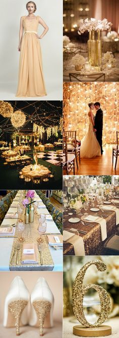 vintage gatsby themed gold wedding ideas I love the gold bottles holding flowers Gold Wedding Theme, 1920s Wedding, Art Deco Wedding, Wedding Themes, Trendy Wedding, Wedding Styles, Dream Wedding, Wedding Ideas, Wedding Dresses