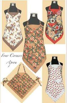 Four Corners Apron. New project to teach niece in her desire to mefrusat mutfak önlük learn to sew. Apron Pattern Free, Vintage Apron Pattern, Aprons Vintage, Quilt Pattern, Retro Apron Patterns, Sewing Aprons, Sewing Clothes, Diy Clothes, Clothes Women