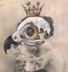 crow girl with cat by foxglovepearly #painting #photomanipulation #illustration #skull #crown