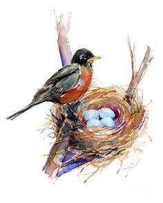 Perch Painting - Robin With Nest by John Keeling Simple Oil Painting, Rain Painting, Spring Painting, Watercolor Bird, Watercolor Paintings, Watercolors, Robin Drawing, Robin Bird, Guache