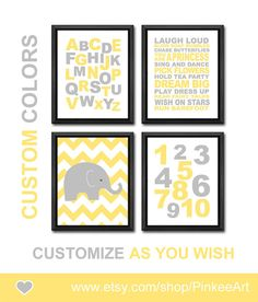 yellow grey nursery art playroom rules for girls by PinkeeArt, $29.00