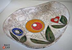 Piatto ciotola in ceramica raku  Fatto a mano  Flowers  di RAKULAB