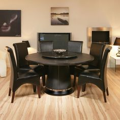 Black Round Dining Table For 6
