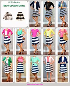A fashion look from August 2015 featuring white skirt. Browse and shop related looks. Striped Skirt Outfit, Striped Skirts, Skirt Outfits, Cute Outfits, Navy Skirt, Pleated Skirt, Work Fashion, Fashion Outfits, Fashion Sets