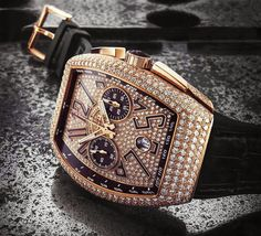 Franck Muller - Vanguard Chrono [Rose Gold with 719 diamonds] Watches For Men Unique, Elegant Watches, Luxury Watches For Men, Beautiful Watches, Cool Watches, Rolex Watches, Hand Watch, Watch 2, Expensive Watches