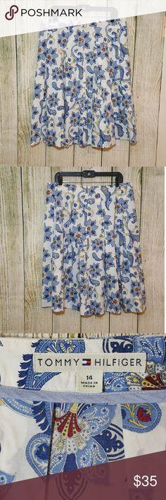 Tommy Hilfiger floral skirt Tommy Hilfiger floral pleated skirt.  Size 14. 100% cotton. Tommy Hilfiger Skirts Midi