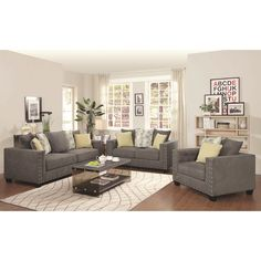 Enhance the luxurious comfort of your living space with the Calvin Button 3-piece living room set. Solid wood legs lend reliable support to this set and complete the ensemble with sophisticated style.