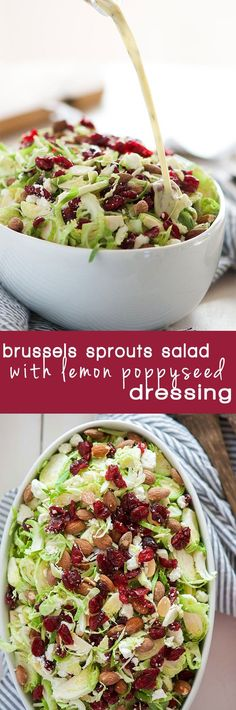 Spring Shaved Brussels Sprout Salad with Lemon Poppyseed Dressing is a fast and light salad that is full of tart cranberries, creamy goat cheese and salty almonds! And tossed in a flavorful, homemade citrus poppyseed dressing!: