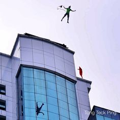 """sarawaktravel: """" 'Mirror mirror on the wall, who is the bravest of them all' @ Sibu Base Jump (at Wisma Sanyan Sibu) """" Base Jumping, Hang Gliding, Skydiving, Extreme Sports, Mirror Mirror, Utility Pole, Balloon, Skyscraper, Building"""