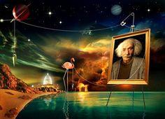 "10 Amazing Albert Einstein Portraits for His 134th Birthday PLUS:   ""Einstein's space is no closer to reality than Van Gogh's sky.""   ~ Arthur Koestler"