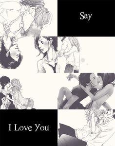 Yamato and Mei, Say i love you 💕 Manga Anime, Anime Kiss, Manga Books, Manga To Read, Awesome Anime, Anime Love, Yamato And Mei, Yamato Kurosawa, Kamigami No Asobi