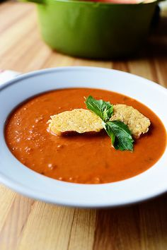 Seriously the best darn Tomato Soup in the world. Add Parmesan Croutons and I'm totally done for. (In a good way.)