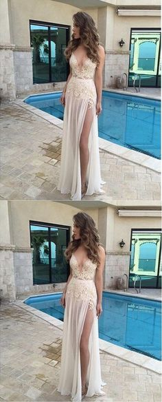 V-Neck A-Line Appliques Sexy Real Made Prom Dresses,Long Evening Dresses,Prom Dresses On Sale,L07