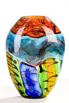Kunst art Murano große traumhafte Vase Glas-Kunst   RAINBOW   R2