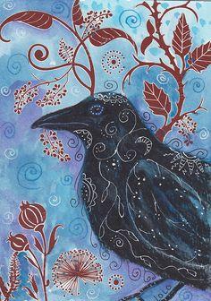 Gothic Raven original art by studiololo2