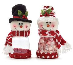 Snowman plush with acrylic candy holders. One snowman with black top hat and red/white striped scarf. One snowman with red knit hat and red/white chevron scarf. Red fabric on the bottom of both. X 4 X 4 X 2 assortments of Family Christmas Ornaments, Christmas Favors, Christmas Makes, Christmas Centerpieces, Christmas Candy, Christmas Snowman, Christmas Holidays, Christmas Decorations, Holiday Decor