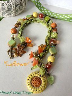 Sunflower Necklace Artisan Ceramic necklace by FloatingVintage