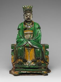 Daoist Deity, probably Heavenly Marshal Zhao (Zhao Gong Ming), Ming dynasty (1368–1644), dated 1482  Qiao Bin (Chinese, active 1481–1507)  Glazed pottery