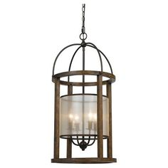 Cal Lighting Mission wood and Metal 4 light Pendant/Chandelier