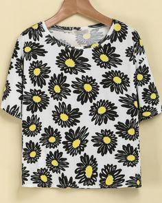 White Short Sleeve Sunflowers Print T-Shirt 9.90