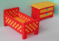 Children bed and a chest of drawers hama beads. I would make this for blake with super glue or something else.