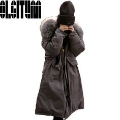 63.62$  Watch here - http://alifwh.worldwells.pw/go.php?t=32782908883 - Hot selling !2017 NEW fashion Oversized Down Parka Black Long Coat Military Parka Korean Large Raccoon Fur Coat Winter Jacket Wo 63.62$