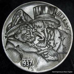 Hand Engraved Vinatge 'Dutch Jokes' cartoon Hobo by on DeviantArt Custom Coins, Hobo Nickel, Coin Art, Bullion Coins, Skull Art, Hand Engraving, Buffalo, Cactus, Charms