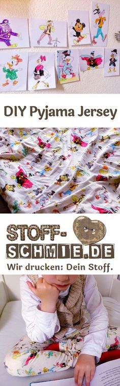 Seid ihr auch DIY Fans? Einfach mal selbst gezeichnete Cartoons als Pyjama nähen? Dann einscannen, bearbeiten und bei der Stoff-Schmie.de beauftragen. #diyfashion #diy #diyblogger 2 Kind, Diy Fashion, Indie, Baseball Cards, Blog, Design, Glamour, Pajamas