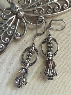 Faceted Crystal and Antique Pewter Beaded Earrings #146