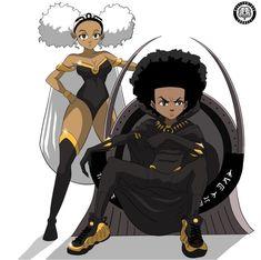 African american love art boondocks x black panther wall . Dope Cartoon Art, Dope Cartoons, Black Cartoon, Cartoon Edits, Black Girl Art, Black Women Art, Black Girls, Black Anime Characters, Cartoon Characters