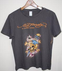 Genuine Vintage Ed Hardy Retro Style Designer T shirt S 100% Cotton Punk Scull.