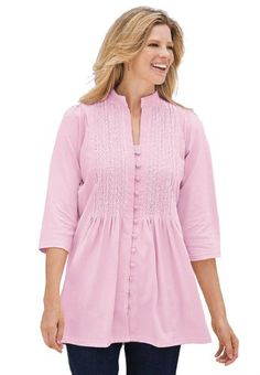 Plus Size Tunic Top In Knit Is Pleated, Pintucked, Embroidered (Pink) Woman Within,http://www.amazon.com