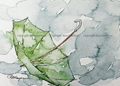 """This is a print of my watercolor painting of a green umbrella in the rain. The print measures 5"""" x 7"""", and it comes in a bevel-cut mat measuring 8 x 10. It is ready to pop into a standard-size ready-made 8 x 10 frame. It could also be easily rematted to fit into a larger size frame. The"""