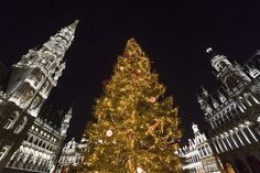 A light show and a Slovenian Christmas tree decorate the Grand Place in Brussels on December 9, 2016.
