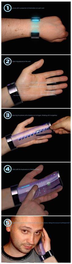 Un concepto de celular con pantalla flexible que podríamos ver en un futuro cercano.