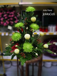 Center varied in green tones Church Flowers, Funeral Flowers, Funeral Floral A . Center varied in