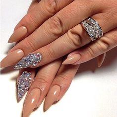 Neutral stilettos with gemstones